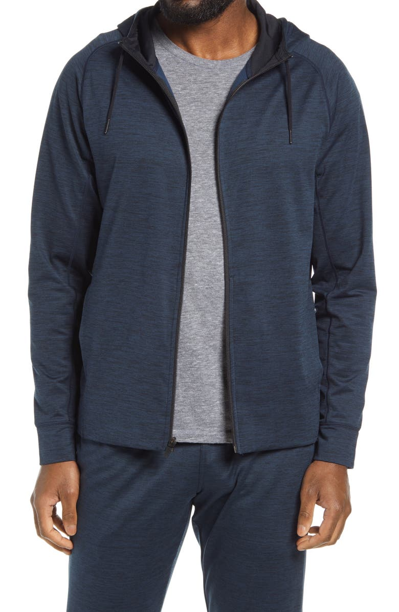 ZELLA Pyrite Zip Hoodie, Main, color, NAVY HALITE MELANGE