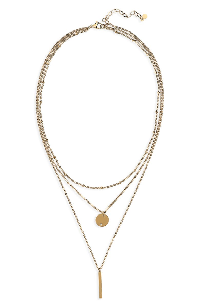 KNOTTY Triple Layered Pendant Necklace, Main, color, GOLD