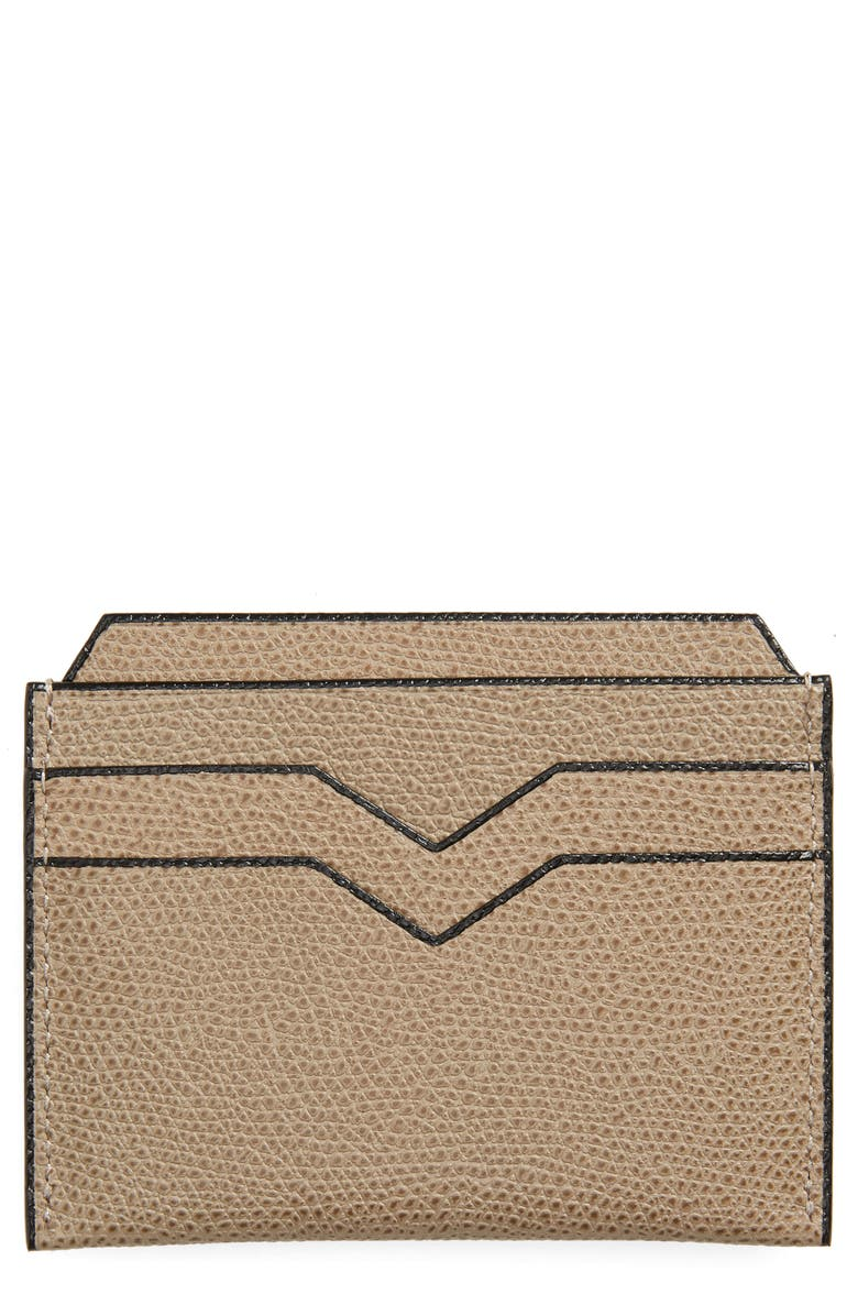VALEXTRA Leather Card Case, Main, color, OYSTER