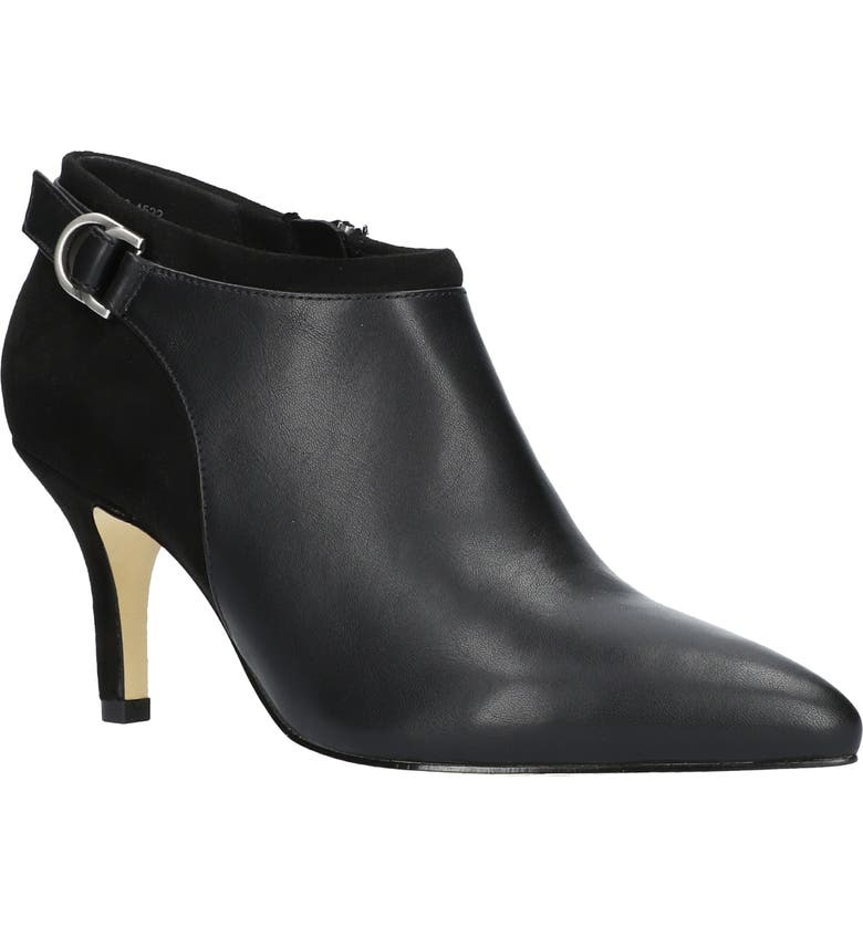 BELLA VITA Esther Pointed Toe Bootie, Main, color, BLACK FAUX LEATHER/ BLACK