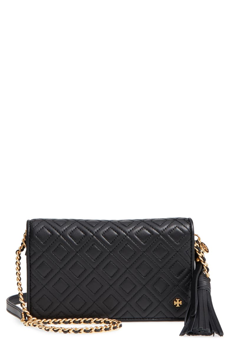 TORY BURCH Fleming Leather Wallet/Crossbody, Main, color, 001