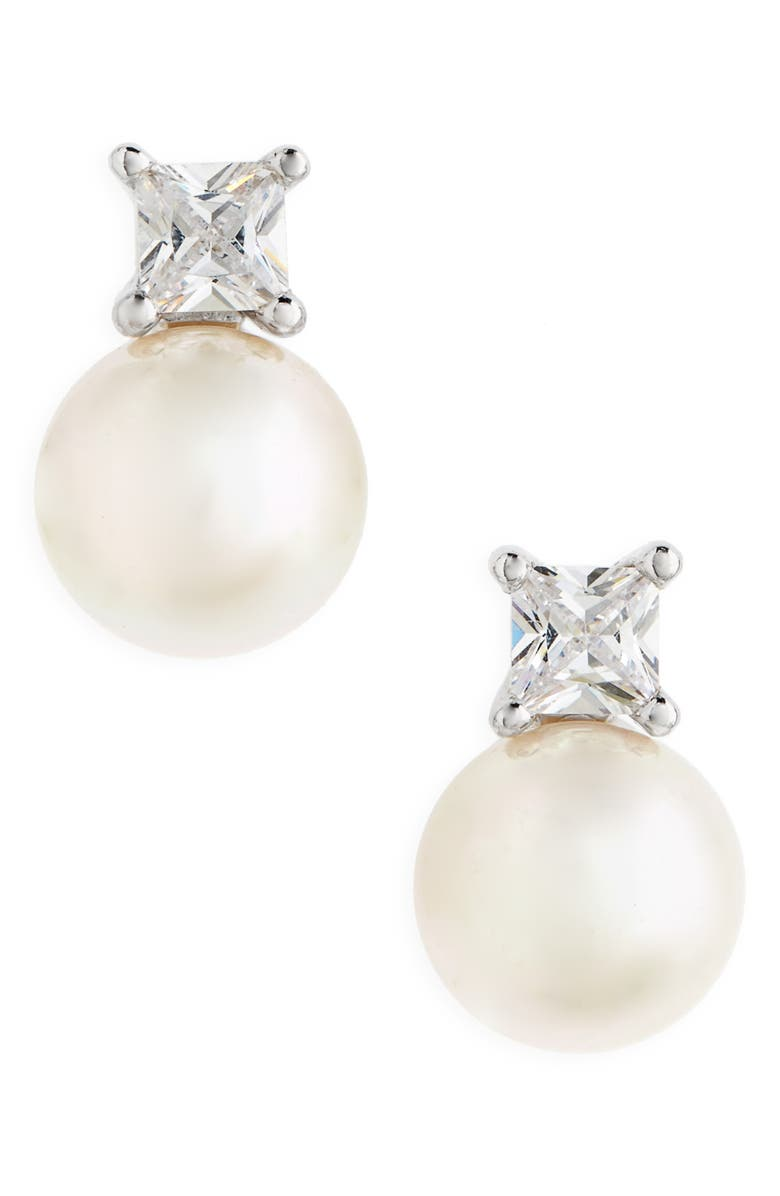 MAJORICA Pearl & Crystal Earrings, Main, color, 100