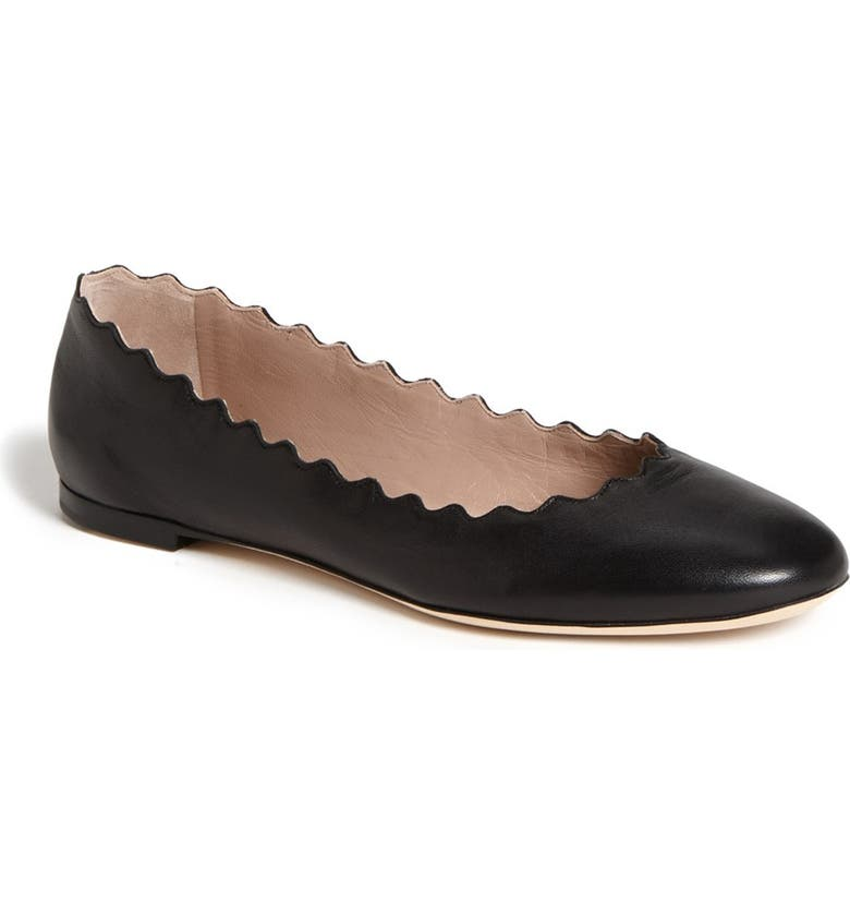 CHLOÉ Lauren Scalloped Ballet Flat, Main, color, BLACK LEATHER
