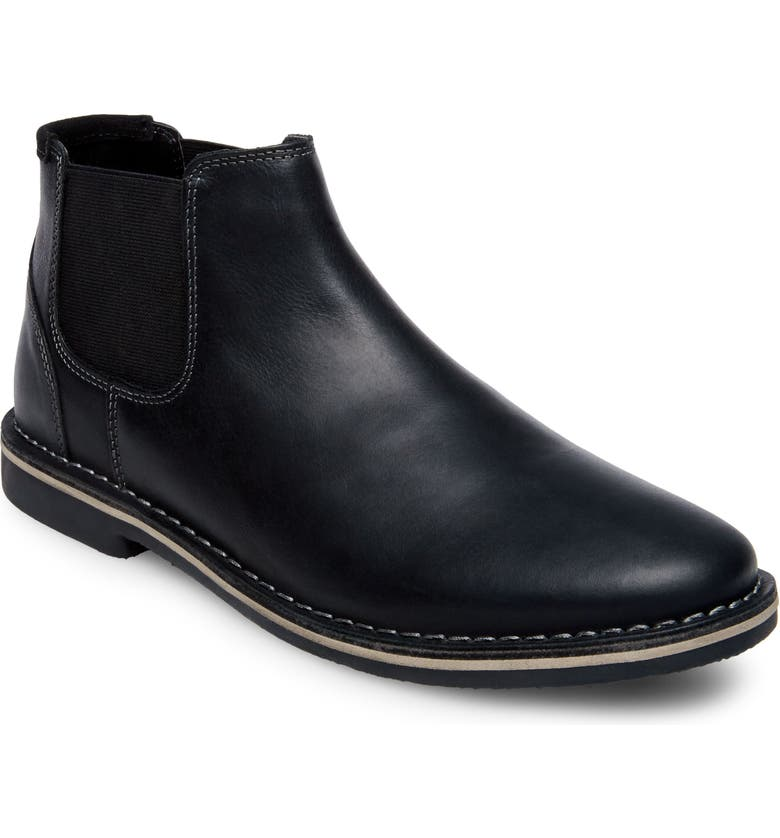 STEVE MADDEN Horus Mid Top Chelsea Boot, Main, color, BLACK LEATHER