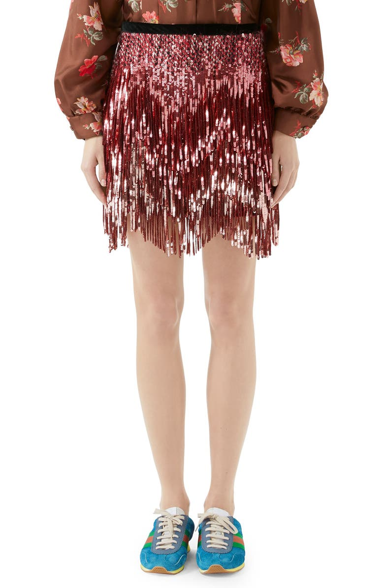 GUCCI Sequin Tweed Skirt, Main, color, 694
