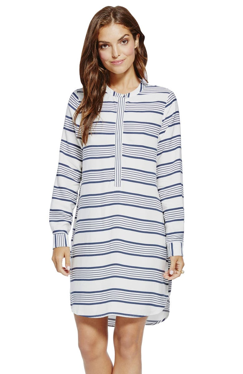 TWO BY VINCE CAMUTO Stripe Split Neck Shirtdress, Main, color, ANTIQUE WHITE