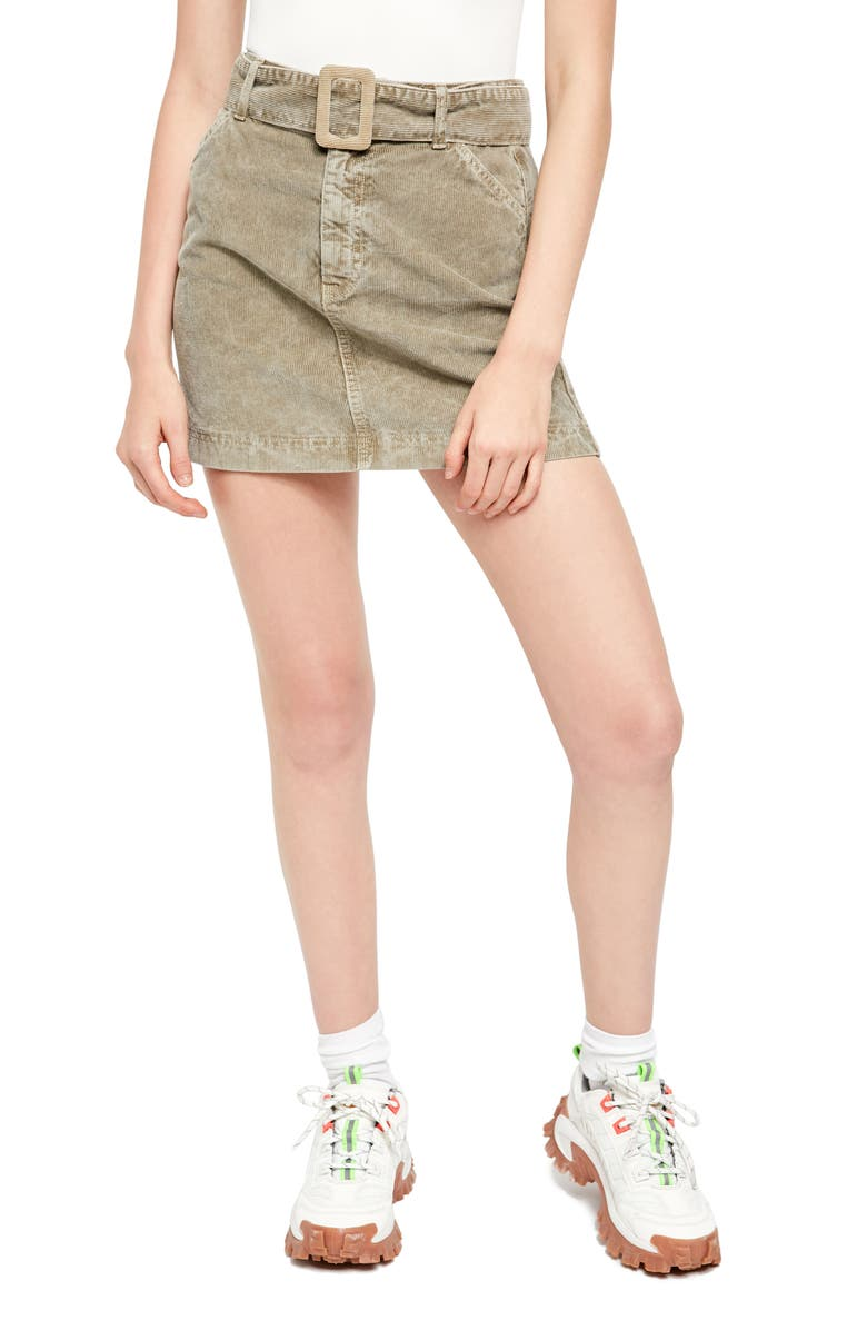 BDG URBAN OUTFITTERS Belted Corduroy Miniskirt, Main, color, 300