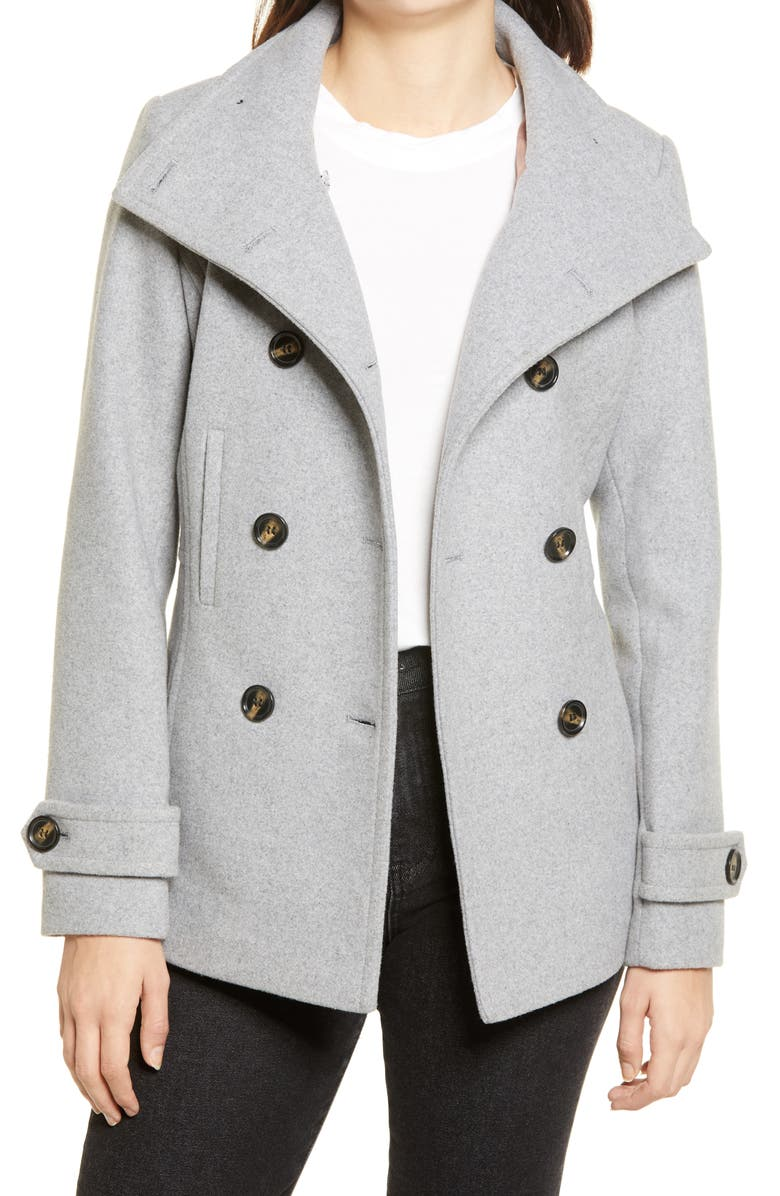 THREAD & SUPPLY Double Breasted Peacoat, Main, color, LIGHT GREY