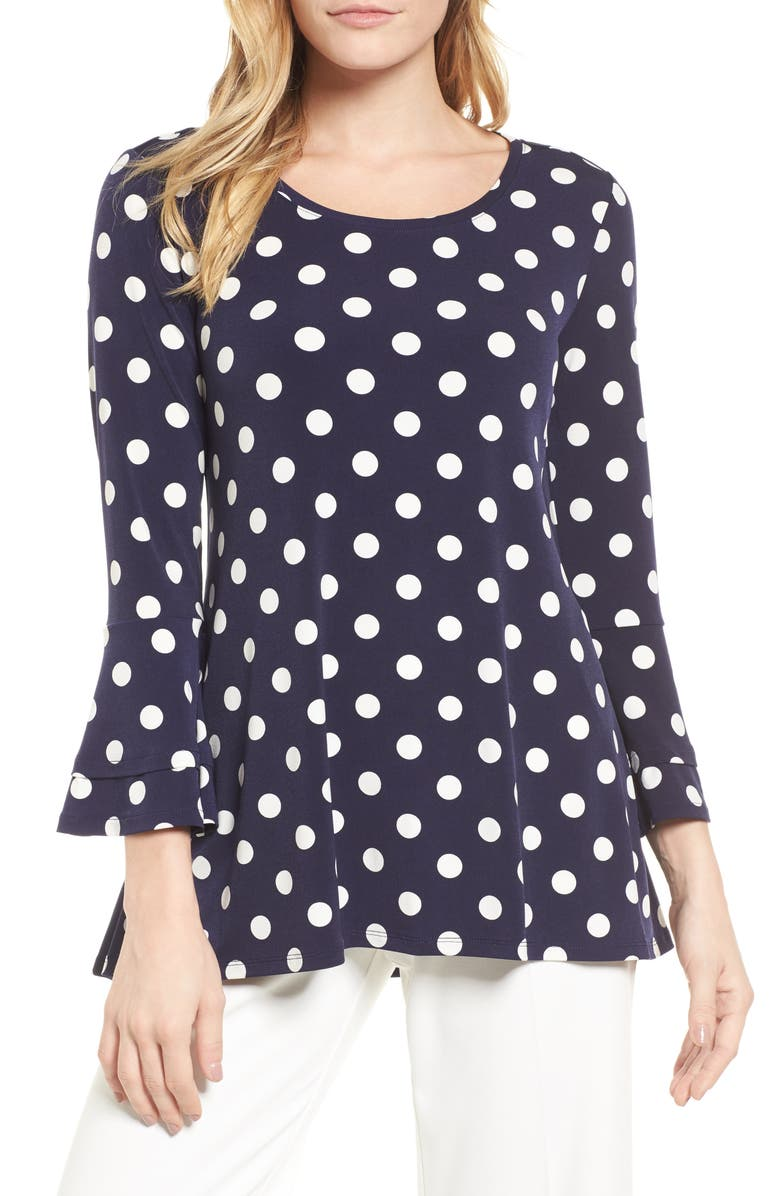 CHAUS Dot Print Bell Sleeve Blouse, Main, color, 529-EVENING NAVY