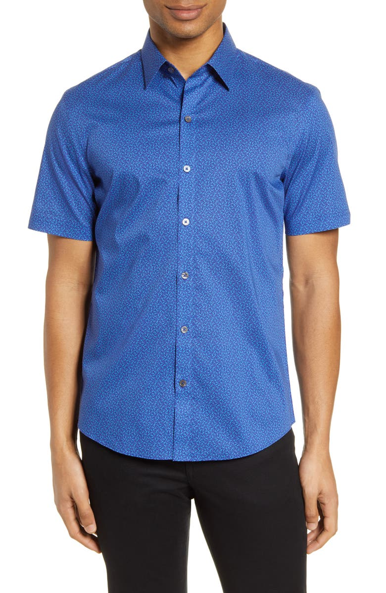 ZACHARY PRELL Perbellini Classic Fit Geo Short Sleeve Stretch Button-Up Shirt, Main, color, 402