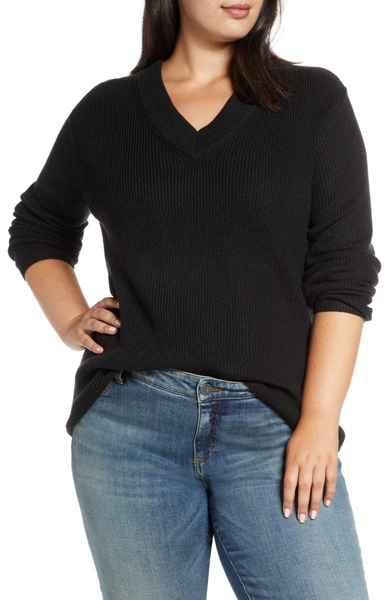 VINCE CAMUTO Ribbed V-Neck Sweater, Main, color, 001