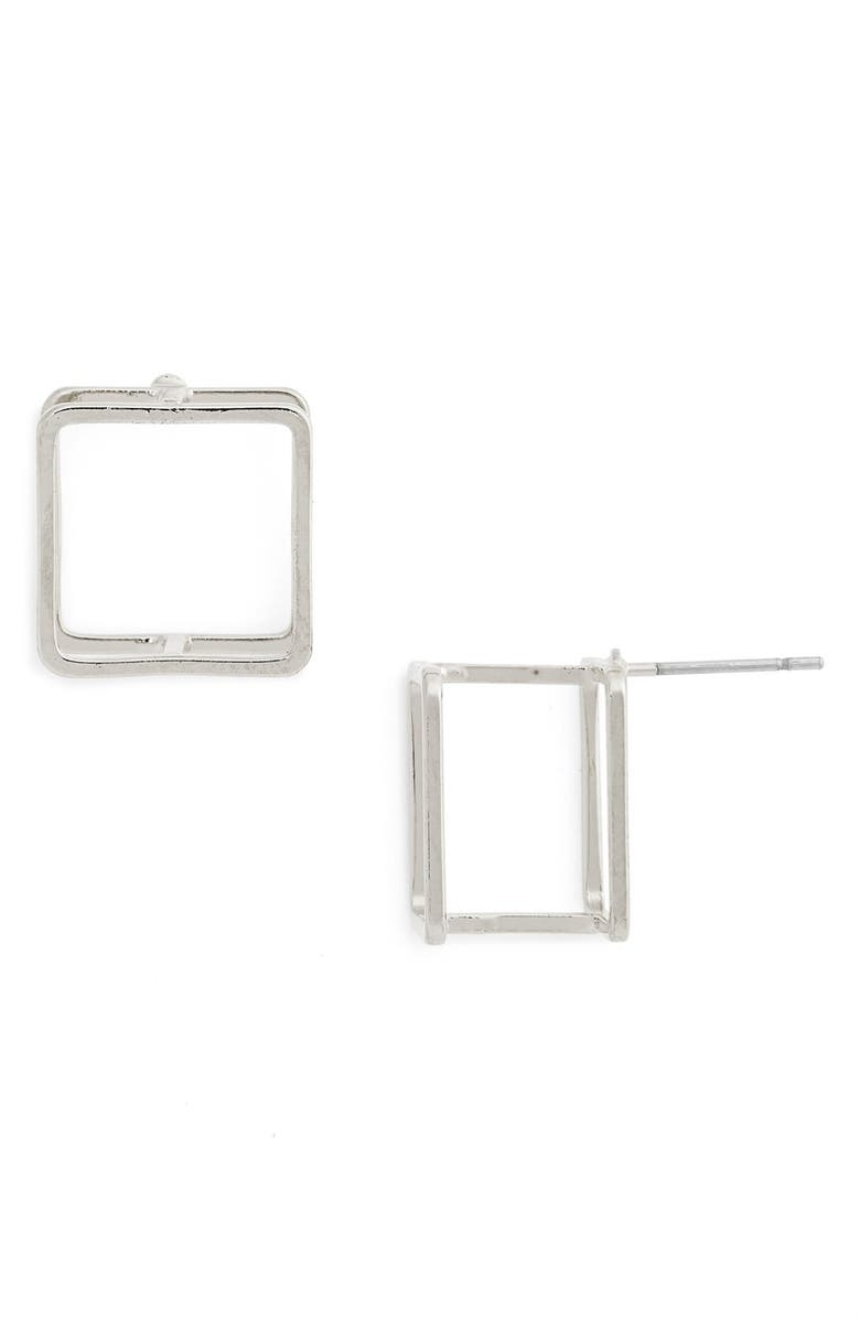 LEITH 3D Square Stud Earrings, Main, color, Silver