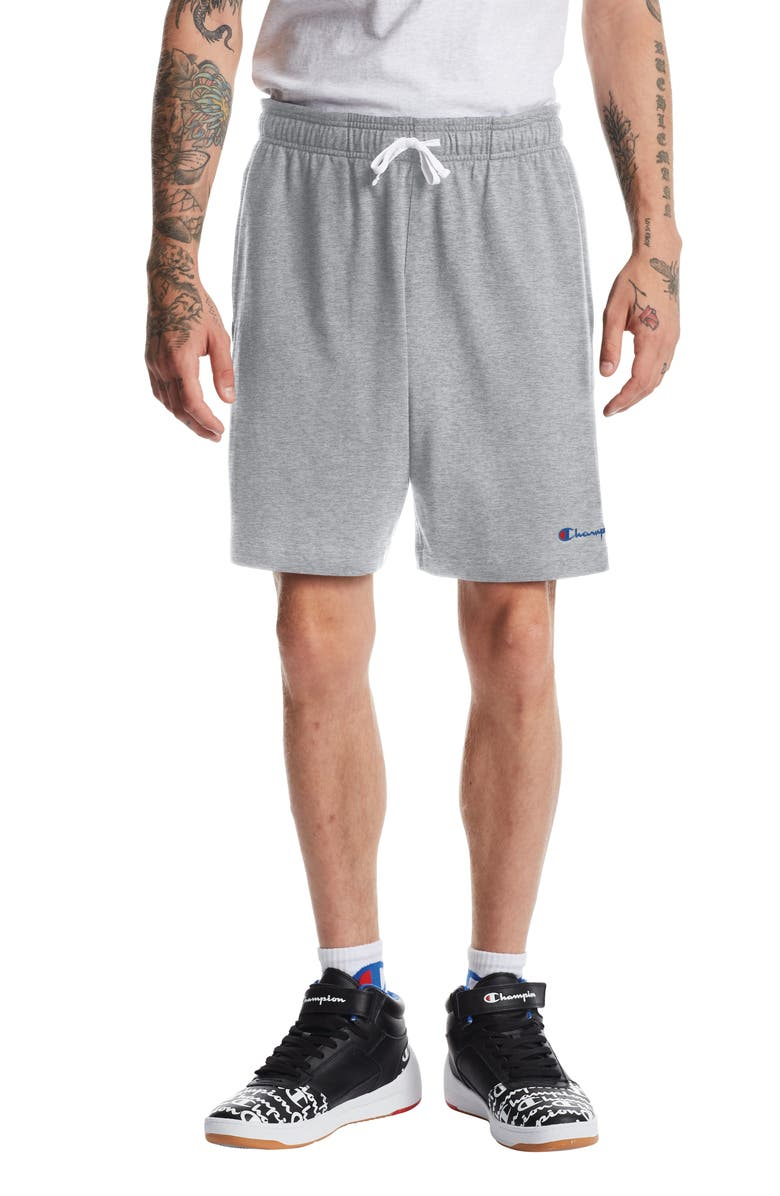 CHAMPION Embroidered Script Logo Jersey Shorts, Main, color, OXFORD GREY