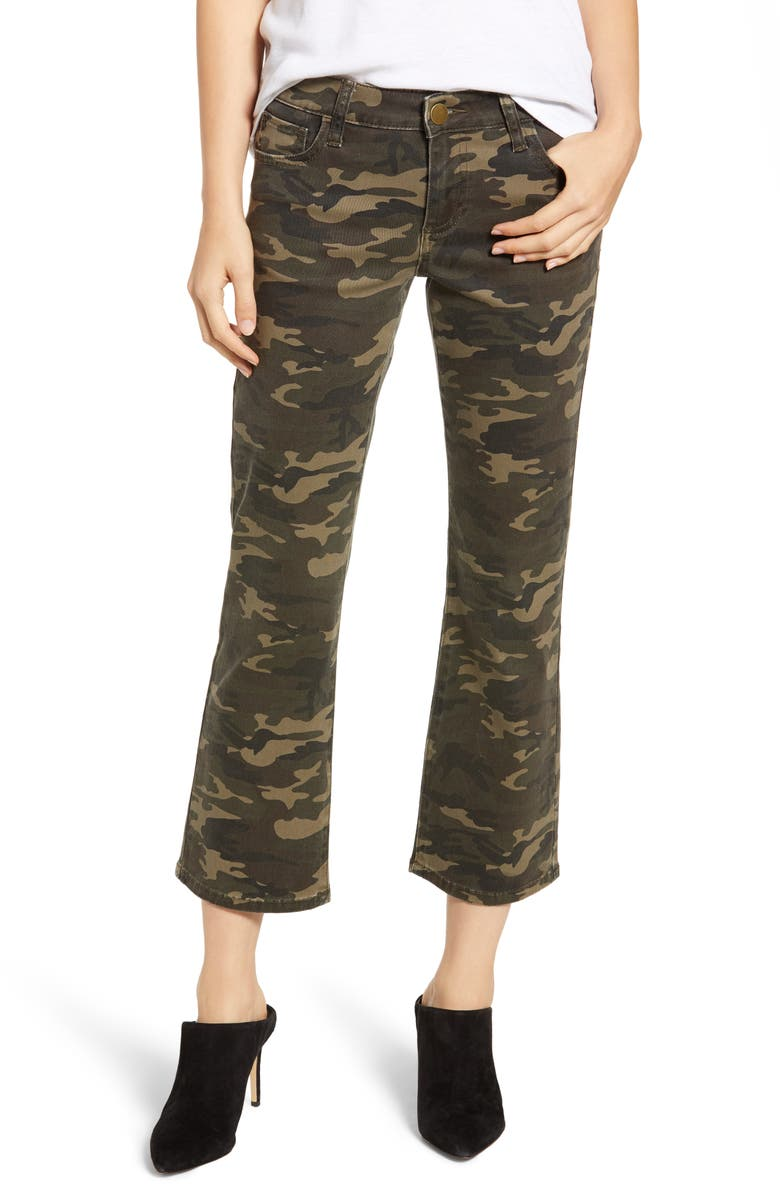 PROSPERITY DENIM Camo Print Crop Flare Jeans, Main, color, OLIVE CAMO