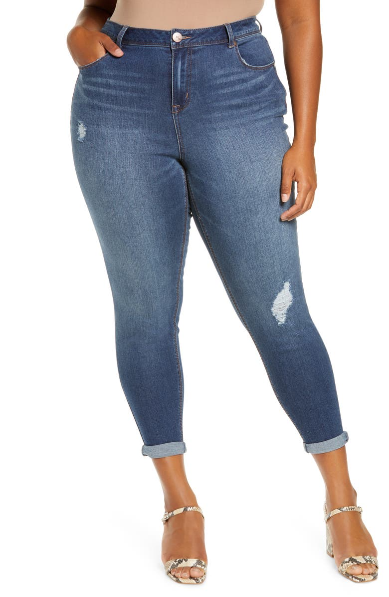 1822 DENIM Baby Roll Cuff Skinny Jeans, Main, color, CANDICE