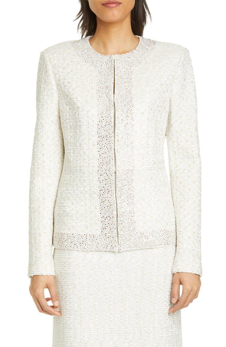 ST. JOHN EVENING Structured Caged Inlay Knit Jacket, Main, color, LIGHT GOLD/ SILVER