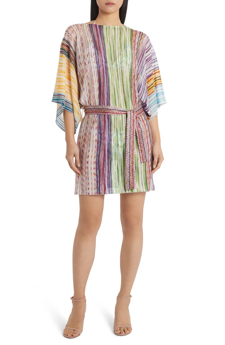 MISSONI MARE Metallic Stripe Belted Cover-Up Tunic Dress, Main, color, GREEN MULTI