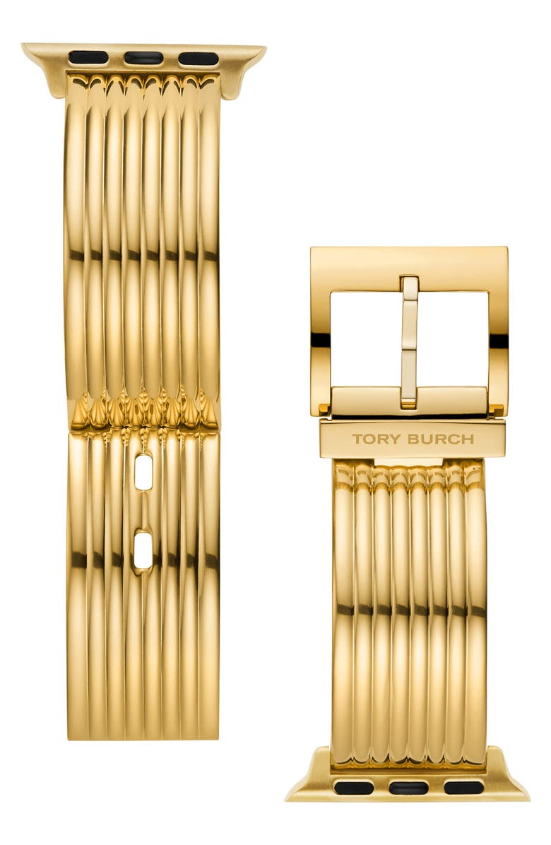 TORY BURCH The Buddy Bangle Band for Apple Watch<sup>®</sup> 38mm/40mm, Main, color, GOLD