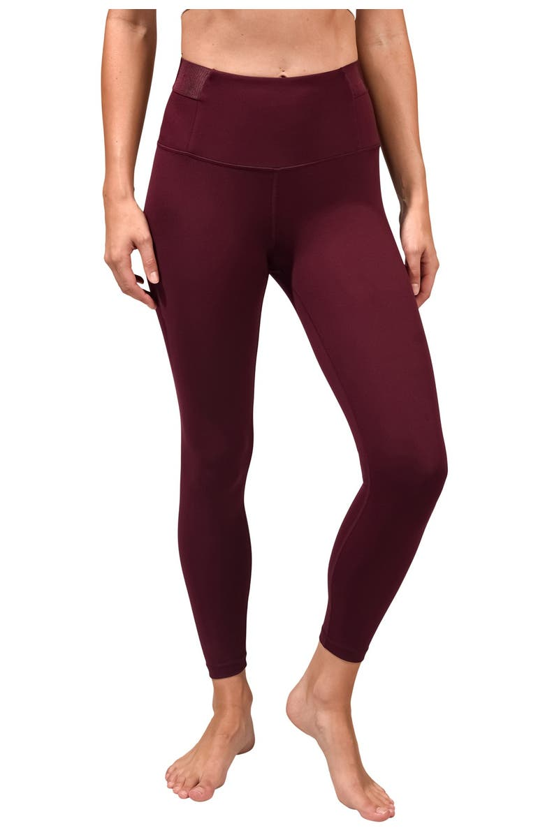 90 DEGREE BY REFLEX Lux Supportive Waist Ankle Leggings, Main, color, CABERNET