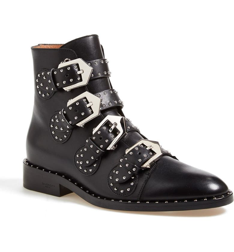 GIVENCHY Prue Studded Buckle Bootie, Main, color, BLACK LEATHER