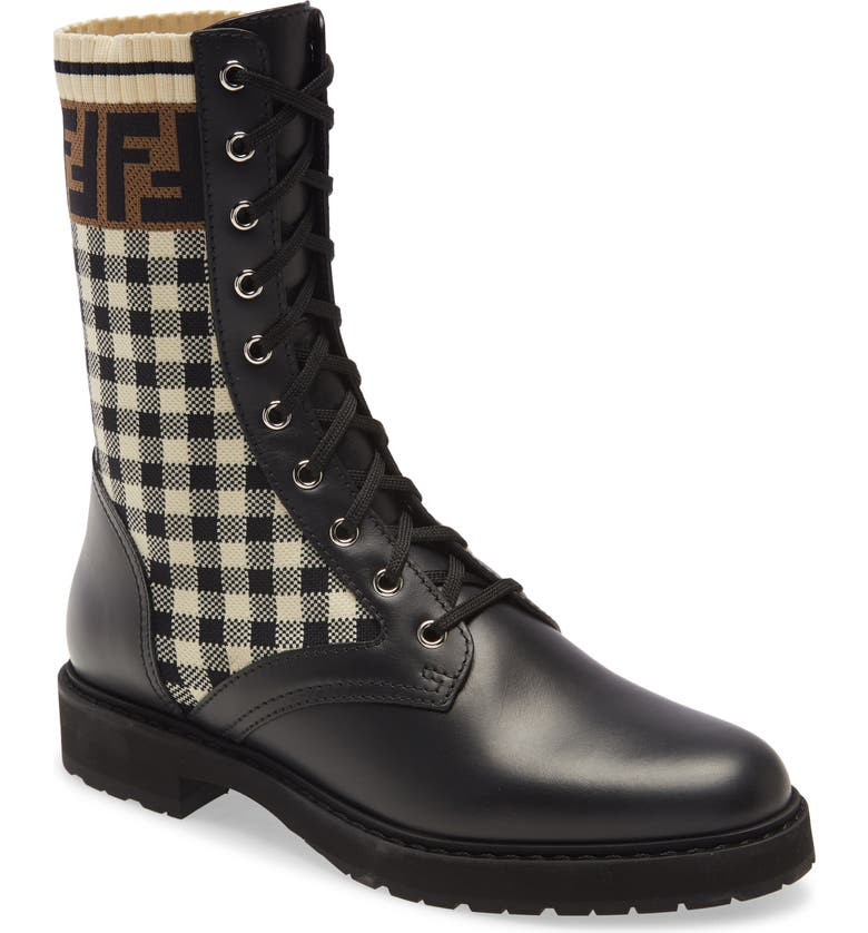 FENDI FF Gingham Sock Lace Up Boot, Main, color, BLACK MULTI