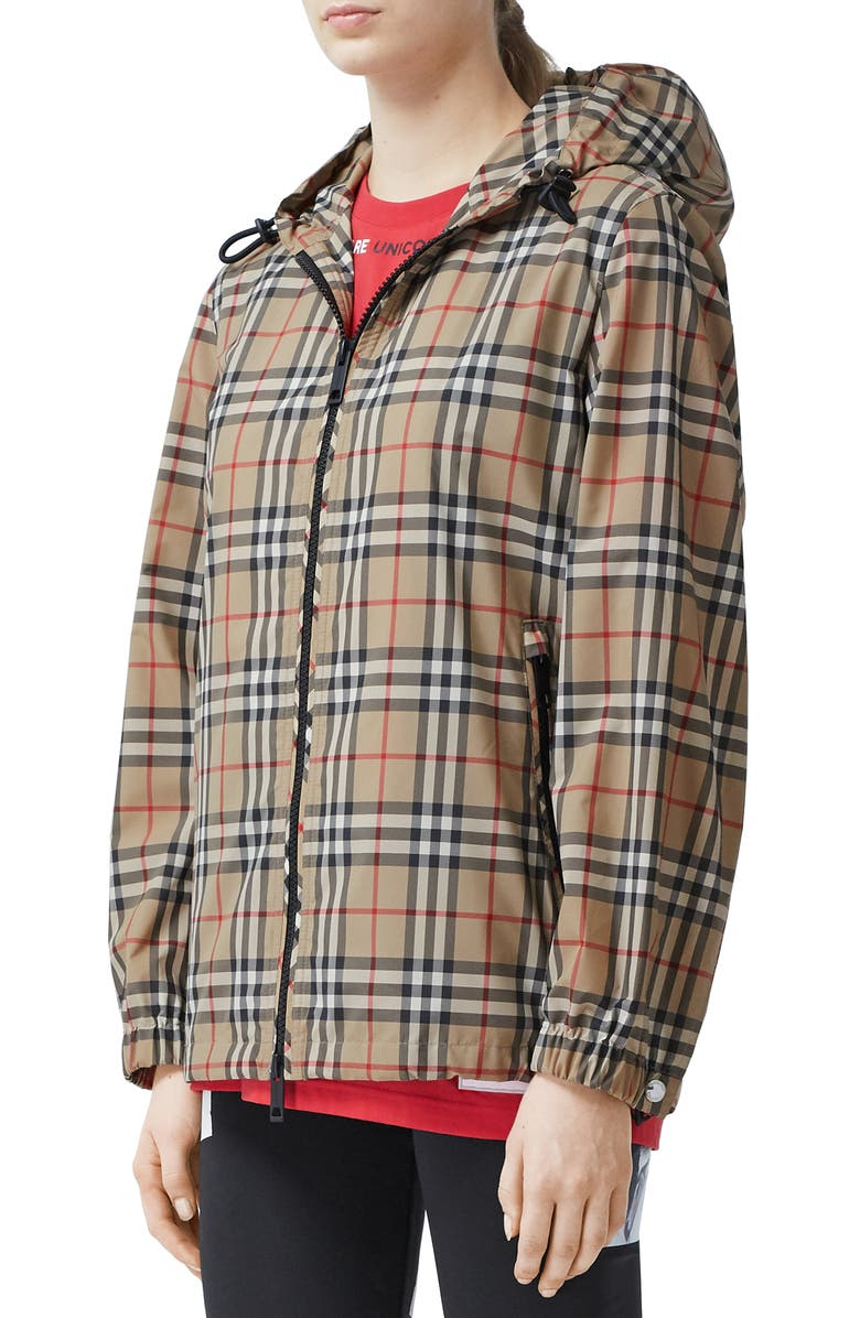 BURBERRY Everton Check Hooded Rain Jacket, Main, color, ARCHIVE BEIGE IP CHK