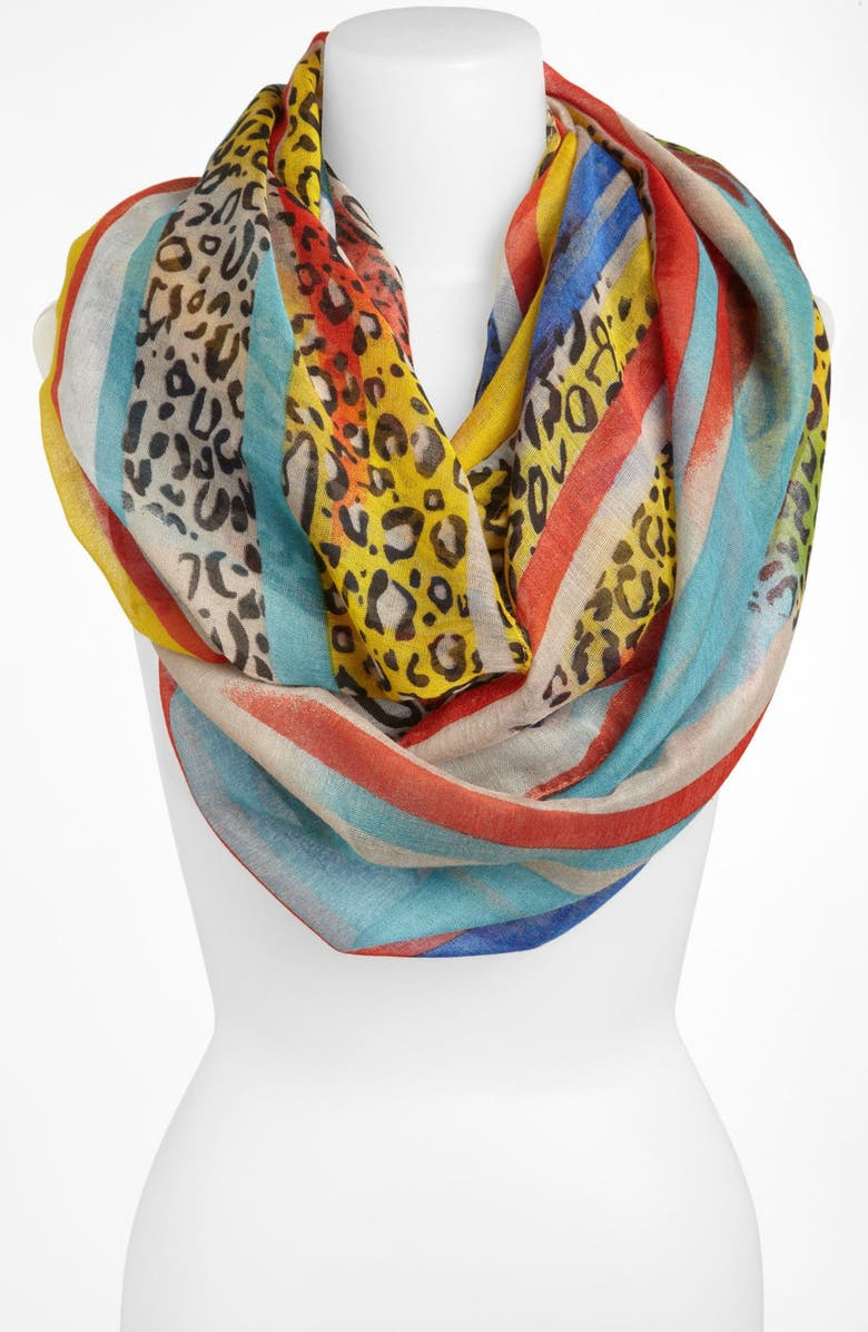 TASHA Stripe Animal Print Infinity Scarf, Main, color, 400