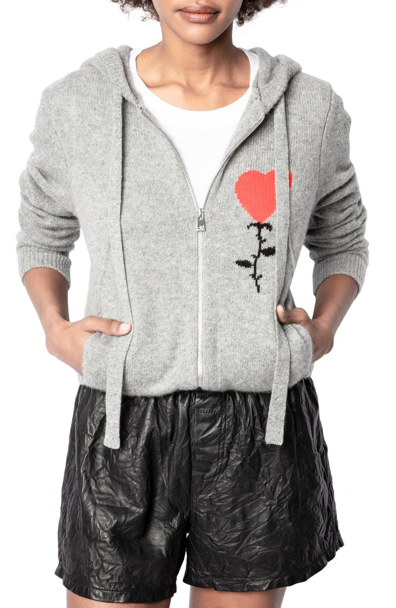 ZADIG & VOLTAIRE Cassy Cashmere Full Zip Hoodie, Main, color, GRIS CHINE