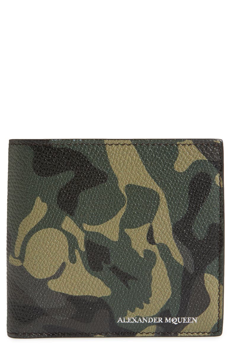 ALEXANDER MCQUEEN Camo Leather Billfold Wallet, Main, color, 009