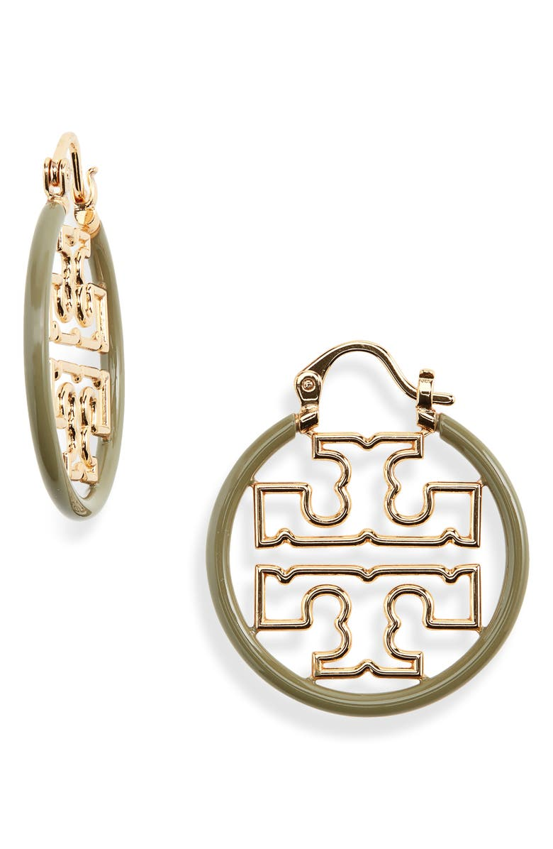 TORY BURCH Small Hoop Earrings, Main, color, TORY GOLD / NEW OLIVE