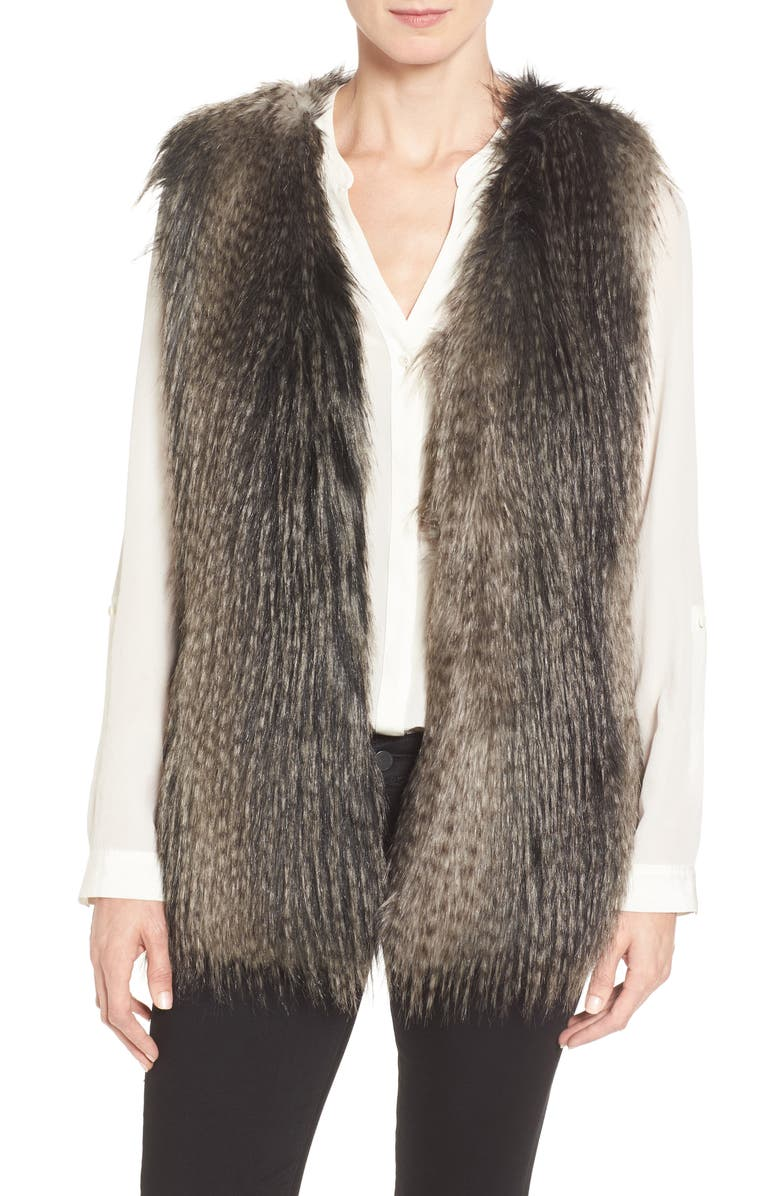 VIA SPIGA Collarless Faux Fur Vest, Main, color, 001