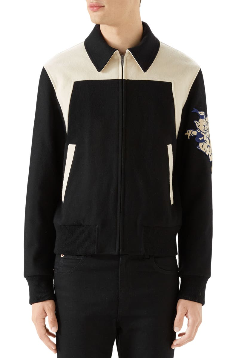GUCCI Wool Bomber with Cat Appliqué, Main, color, 001