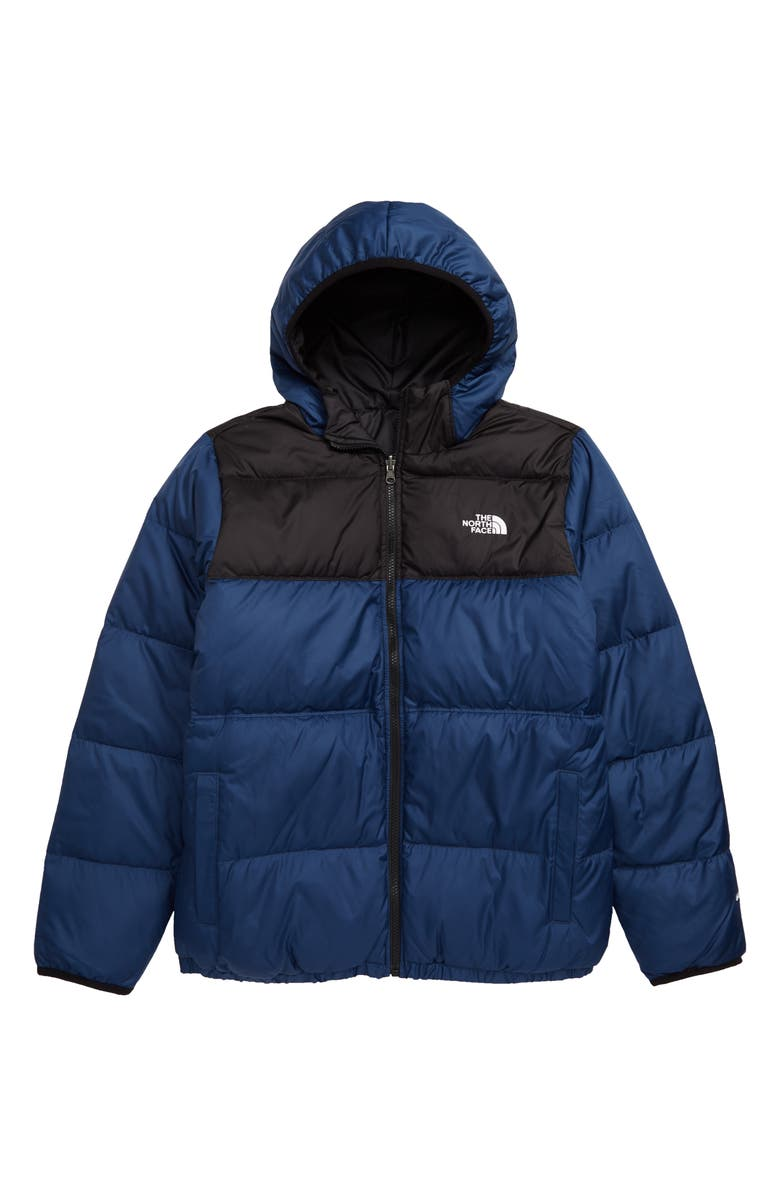 THE NORTH FACE Kids' Moondoggy Water Repellent Reversible Down Jacket, Main, color, TNF BLACK/ SHADY BLUE