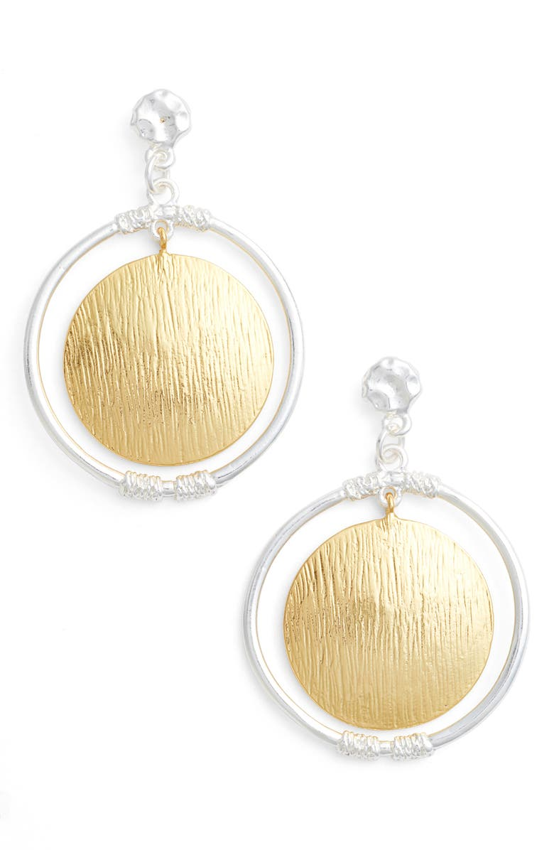 KARINE SULTAN Two-Tone Drop Earrings, Main, color, SILVER/GOLD MIX