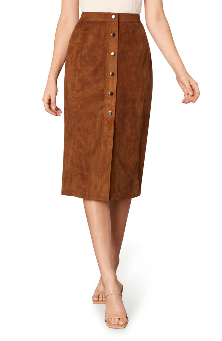CUPCAKES AND CASHMERE Janis Faux Suede Skirt, Main, color, ANTELOPE