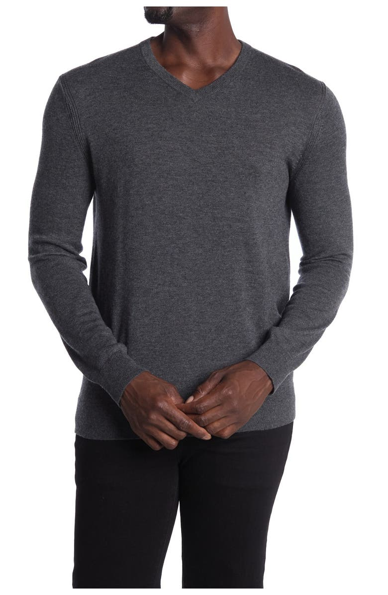 THEORY Riland Wool Blend V-Neck Sweater, Main, color, CHARCOAL