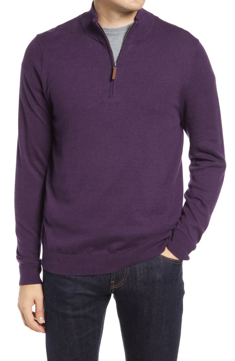 NORDSTROM Men's Shop Half Zip Cotton & Cashmere Pullover, Main, color, PURPLE CROWN