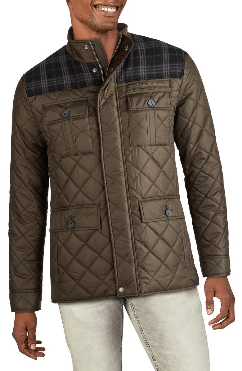 COLE HAAN SIGNATURE Mixed Media Quilted Jacket, Main, color, OLIVE