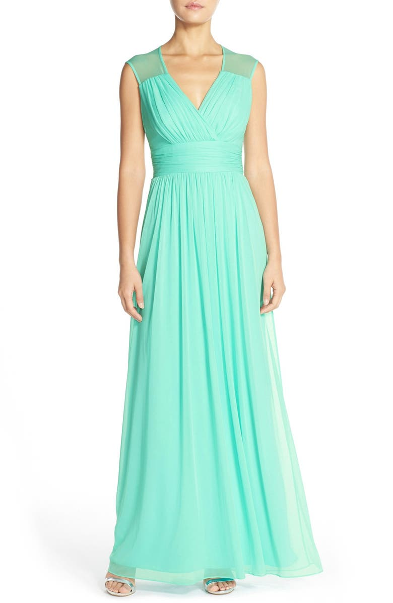 ALFRED SUNG Cap Sleeve Chiffon A-Line Gown, Main, color, 448