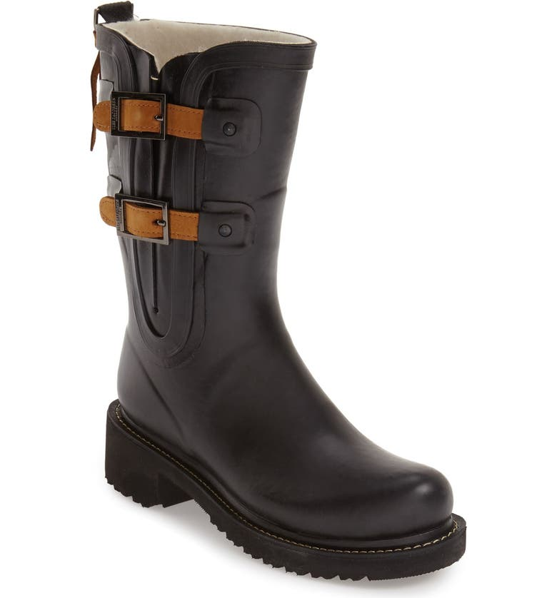 ILSE JACOBSEN Waterproof Buckle Detail Snow/Rain Boot, Main, color, BLACK