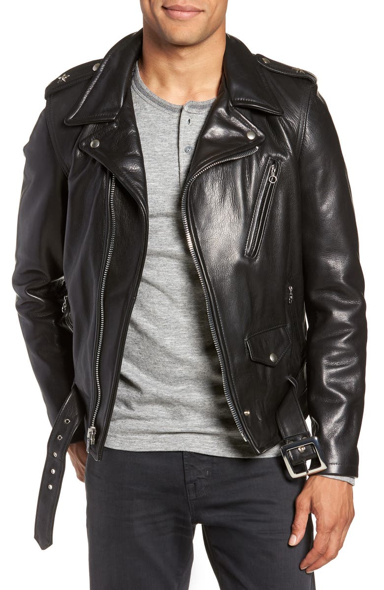 SCHOTT NYC '50s Oil Tanned Cowhide Leather Moto Jacket, Main, color, BLACK