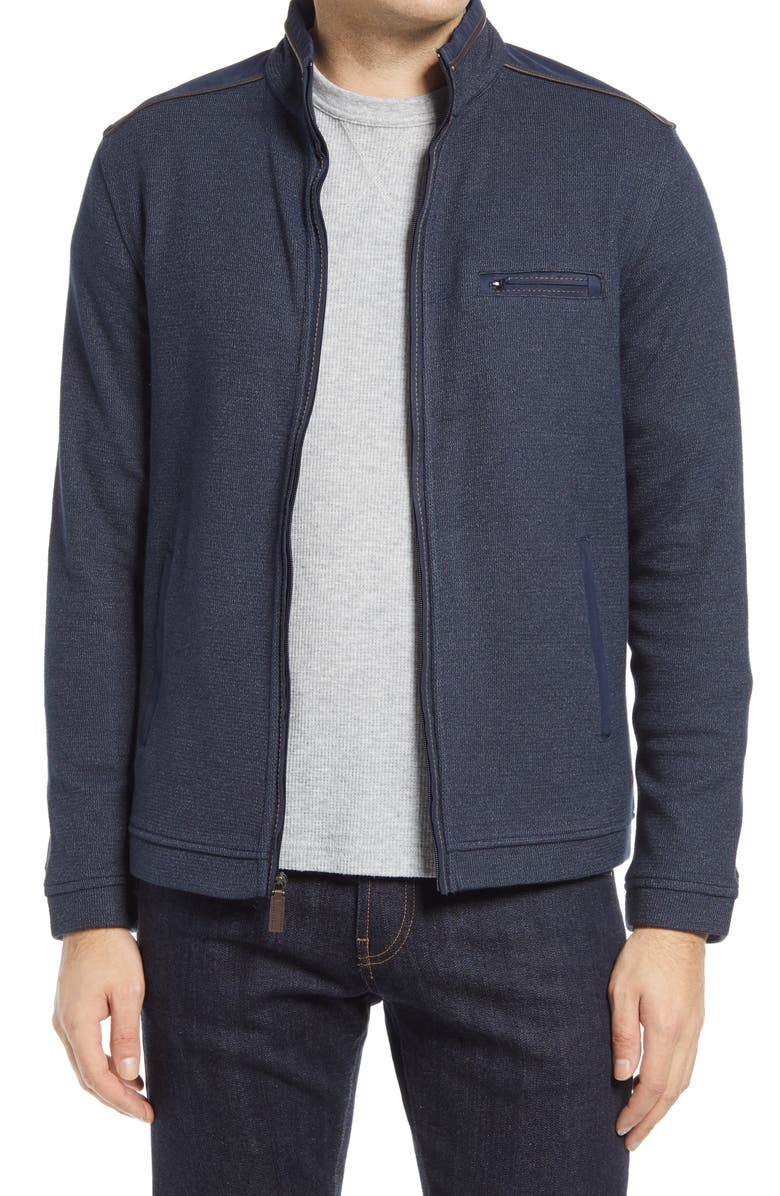 JOHNSTON & MURPHY Mélange Knit Zip-Up Jacket, Main, color, NAVY