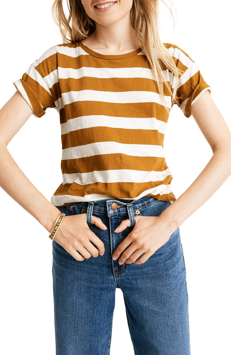 MADEWELL Rugby Stripe Whisper Cotton Crewneck Tee, Main, color, EGYPTIAN GOLD OREO STRIPE
