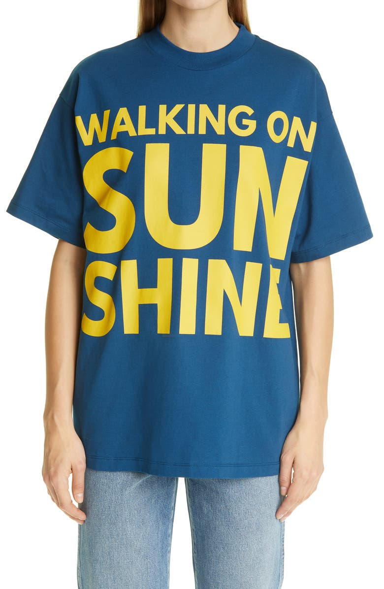 HFD Unisex Walking on Sunshine Graphic Tee, Main, color, NAVY