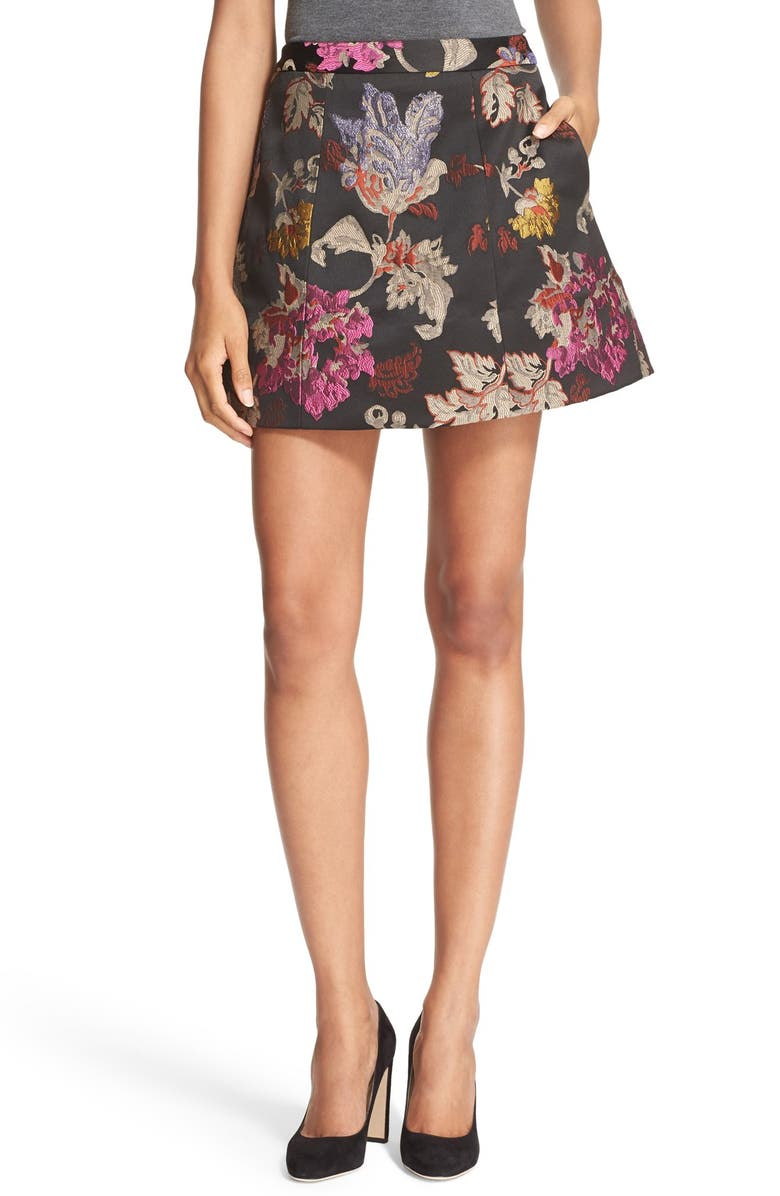 ALICE + OLIVIA 'Loran' Floral Jacquard Structured A-Line Skirt, Main, color, 001