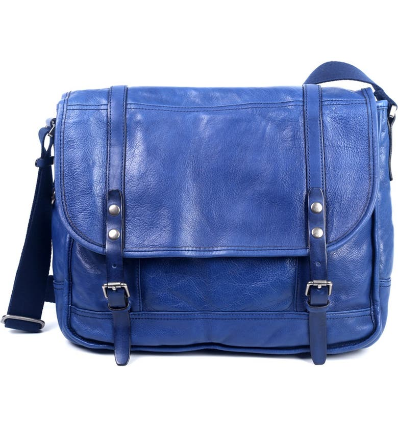 OLD TREND Mountain Breeze Leather Messenger Bag, Main, color, NAVY