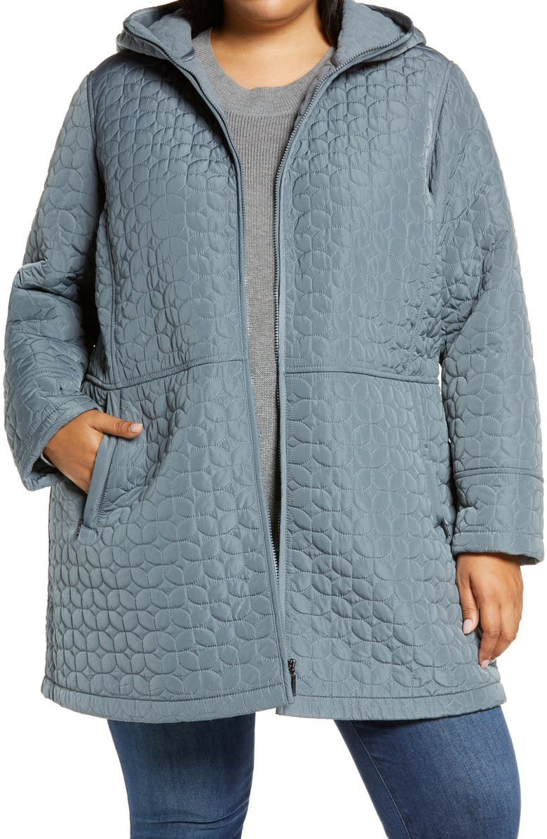 GALLERY Fleece Lined Quilted Hooded Jacket, Main, color, PATINA BLUE