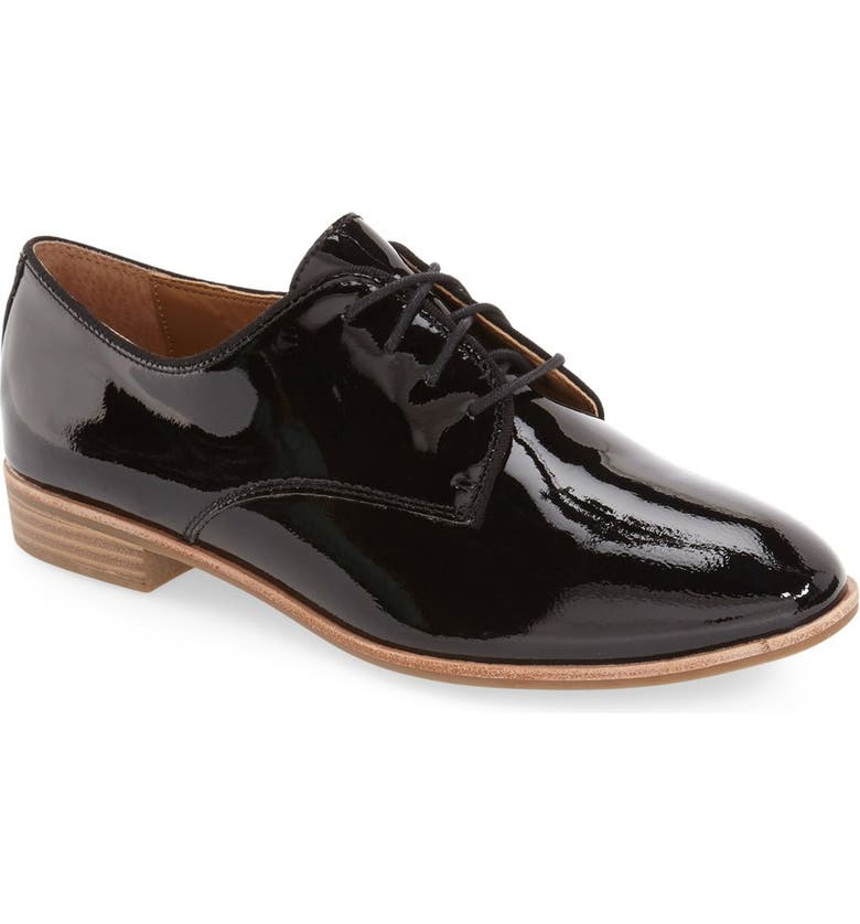 G.H. BASS & CO. 'Ella' Leather Oxford, Main, color, BLACK PATENT LEATHER