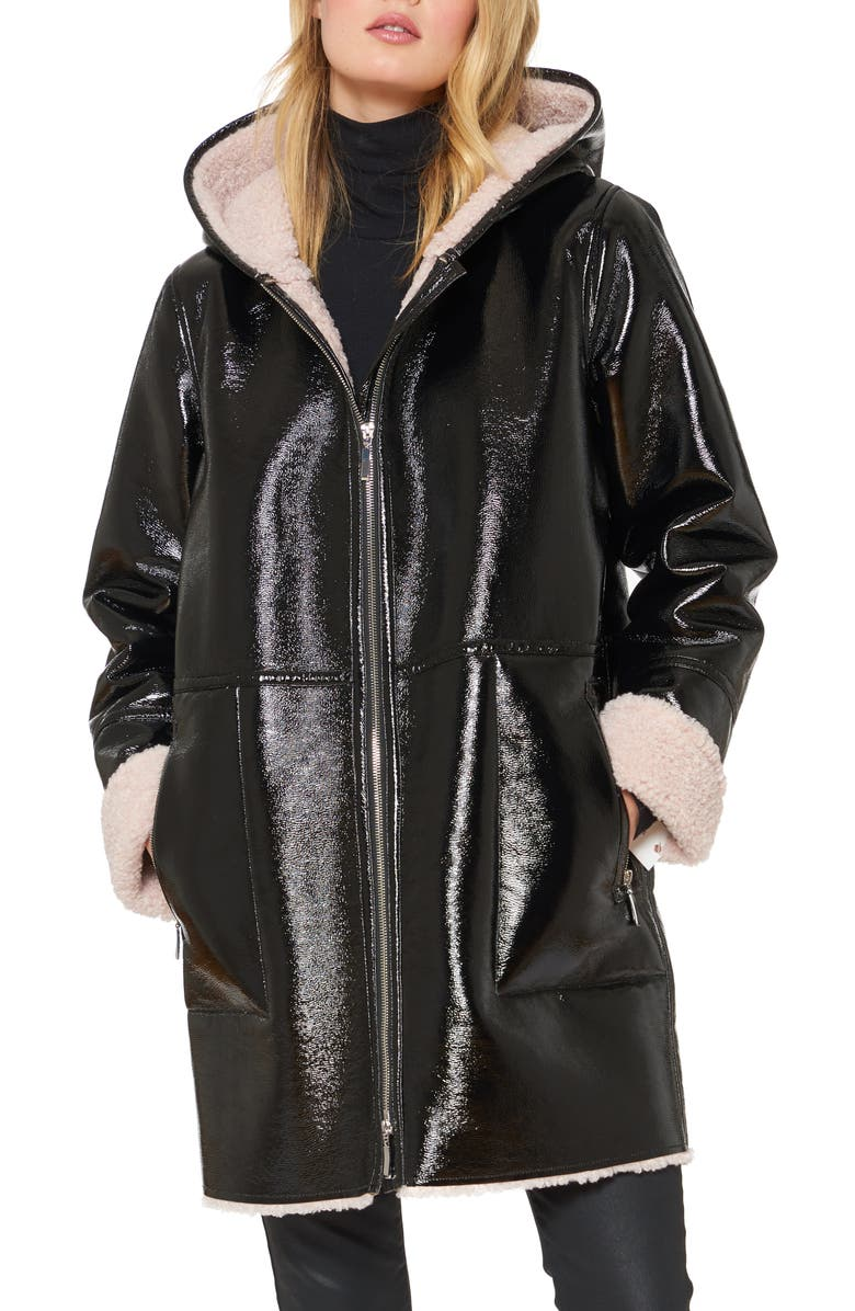 SANCTUARY Faux Shearling Lined Patent Leather Coat, Main, color, BLACK/ DUSTY PINK