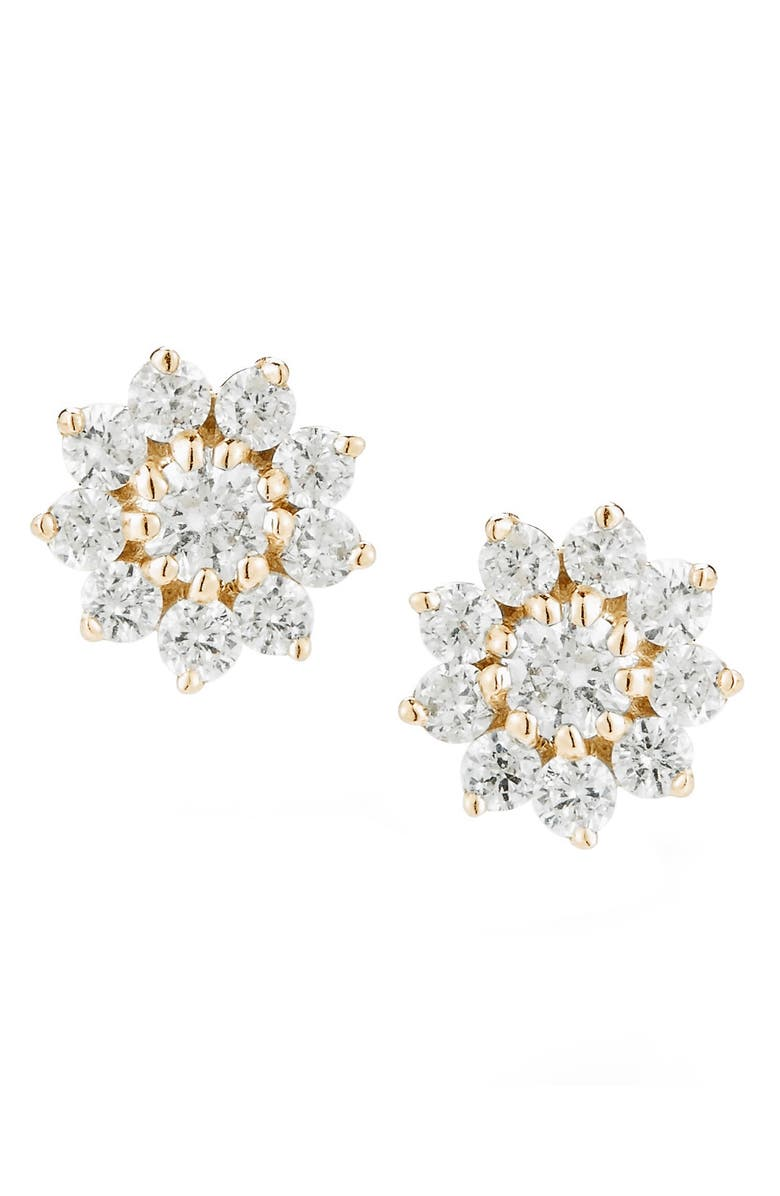 DANA REBECCA DESIGNS Jennifer Y Pointed Flower Diamond Stud Earrings, Main, color, YELLOW GOLD